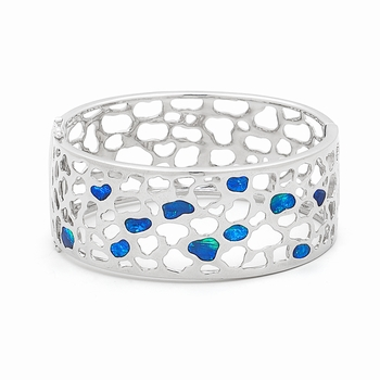 Opal Jewellery Sterling Silver Solid Inlay Opal Bangle, opal jewellery