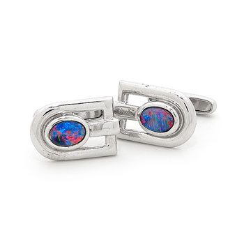 Opal Jewellery Sterling Silver Light Opal Doublet Cuff Link, opal jewellery
