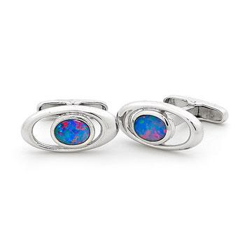Opal Jewellery Sterling Silver Light Opal Doublet Cuff Link, opal jewellery