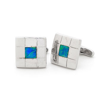 Opal Jewellery Sterling Silver Solid Inlay Opal Cuff Link, opal jewellery