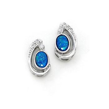Opal Jewellery Sterling Silver Light Opal Doublet Earring, opal jewellery