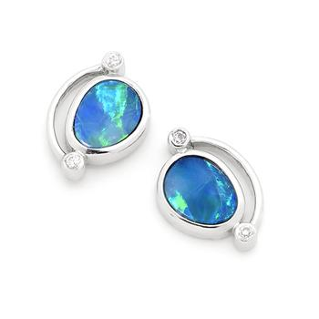 Opal Jewellery Sterling Silver Solid Inlay Opal Earring, opal jewellery