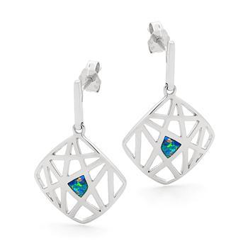 Opal Jewellery Sterling Silver Solid Inlay Opal Earring, opal jewellery