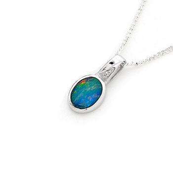 Opal Jewellery Sterling Silver Light Opal Doublet Pendant, opal jewellery