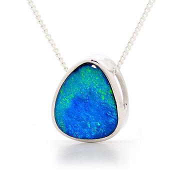 Opal Jewellery Sterling Silver Light Opal Doublet Pendant, opal jewellery