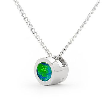 Opal Jewellery Sterling Silver Solid Inlay Opal Pendant, opal jewellery