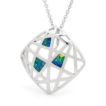 Opal Jewellery Sterling Silver Solid Inlay Opal Pendant, opal jewellery
