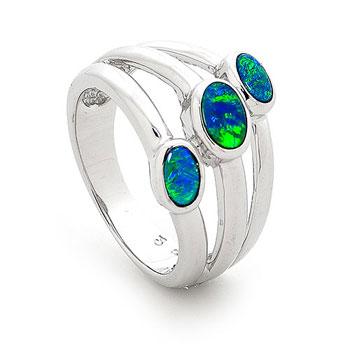 Opal Jewellery Sterling Silver Light Opal Doublet Ring, opal jewellery