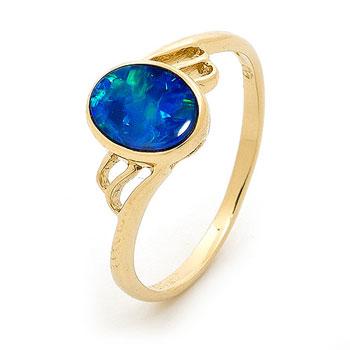 Opal Jewellery 14k Yellow Gold Light Opal Doublet Ring, opal jewellery