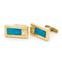 Opal Jewellery 14k Yellow Gold Light Opal Doublet Cuff Link, opal jewellery