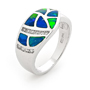 Opal Jewellery 14k White Gold Solid Inlay Opal Ring, opal jewellery