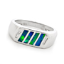 Opal Jewellery 18k White Gold Solid Inlay Opal Ring, opal jewellery