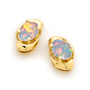 Opal Jewellery 18k Yellow Gold Solid Light Opal Earring, opal jewellery