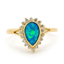 Opal Jewellery 18k Yellow Gold Light Opal Doublet Ring, opal jewellery